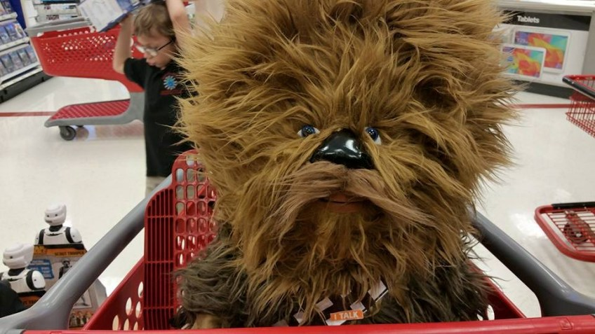 Giant stuffed Chewbacca at Target