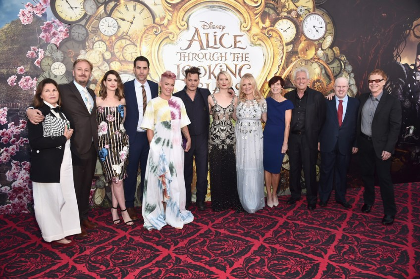 Costume designer Colleen Atwood, director James Bobin, actors Anne Hathaway, Sacha Baron Cohen, singer-songwriter P!nk, actors Johnny Depp, Mia Wasikowska, producer Suzanne Todd, screenwriter Linda Wollverton, producer Joe Roth, actor, Matt Lucas and composer, Danny Elfman