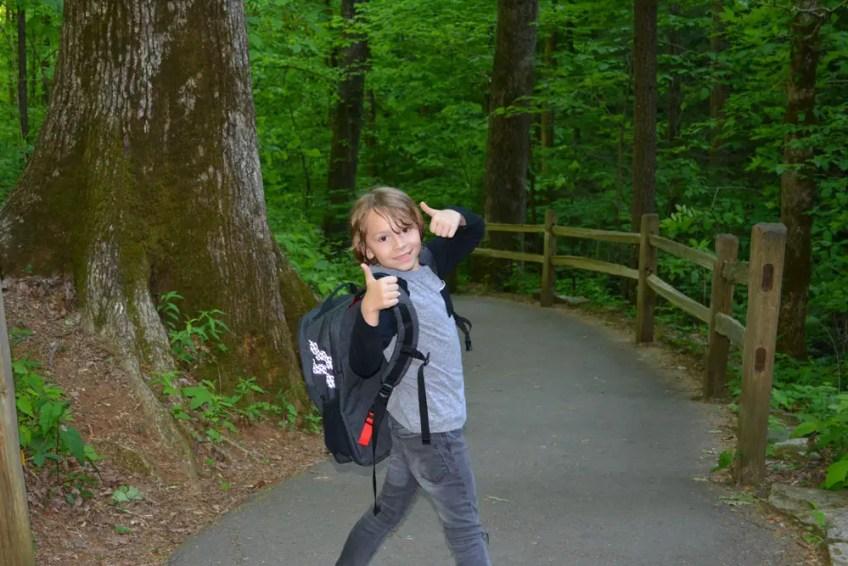 Pannier Convertible Backpack, boy hiking, the little fairytale traveler, gauge kidfriendly, Gauge Rybak, Pannier Backpack, Anna Ruby Falls, Georgia, Things to do near Helen Georgia, Georgia waterfalls,