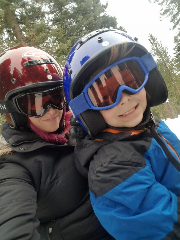Snowmobiling for the first time, christa thompson, gauge rybak, kidfriendly
