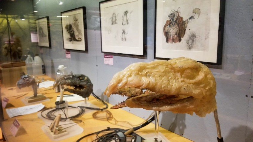 Skeksis prototypes used in the film at The Dark Crystal World of Myth and Magic