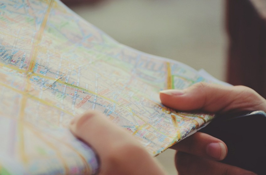 map, tourist, frugal road trip tips, sports for geeks