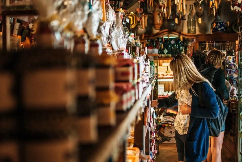 Girl shopping travel