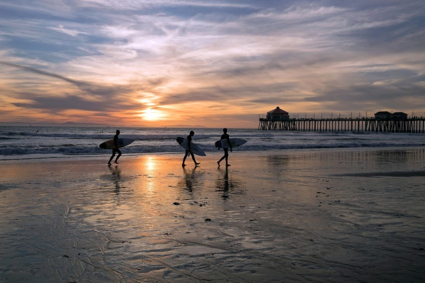 beach, California, sunset