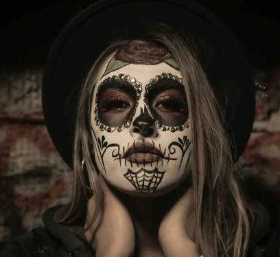 woman with sugar skull make up