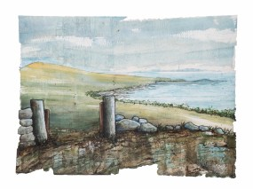 (c) Theo Crutchley-Mack, Eastern Isle, 77x56cm, Acrylic, Collage, Ink, Spray on paper, 2015