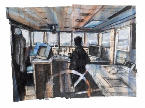 (c) Theo Crutchley-Mack, The Scillonian, 67x52cm, Acrylic, Charcoal and Ink on paper, 2015