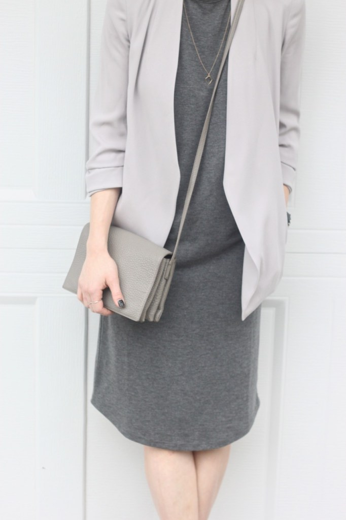 grey on grey tones - @aritzia jacket and @oakandfort dress