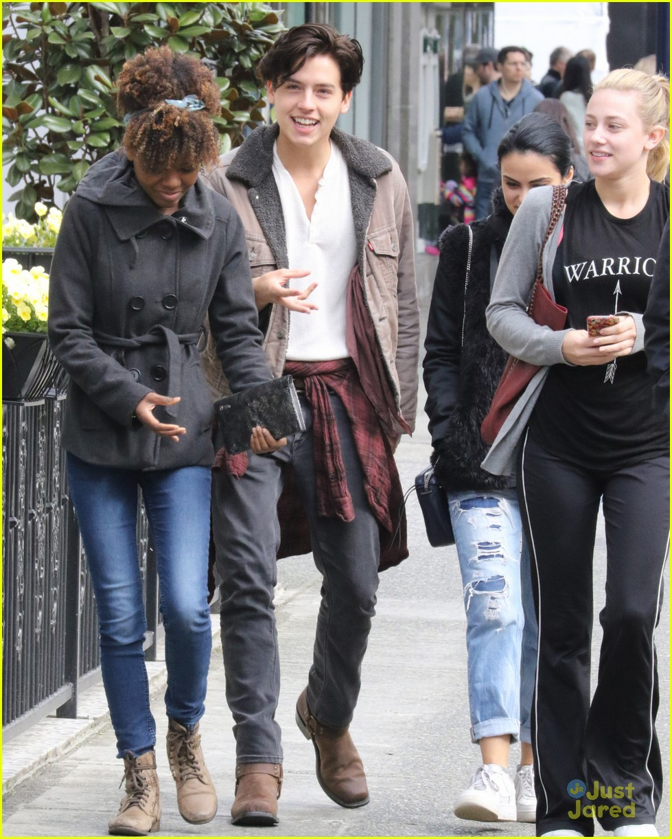 Cole Sprouse goes for a walk with his fellow Riverdale cast members in Vancouver