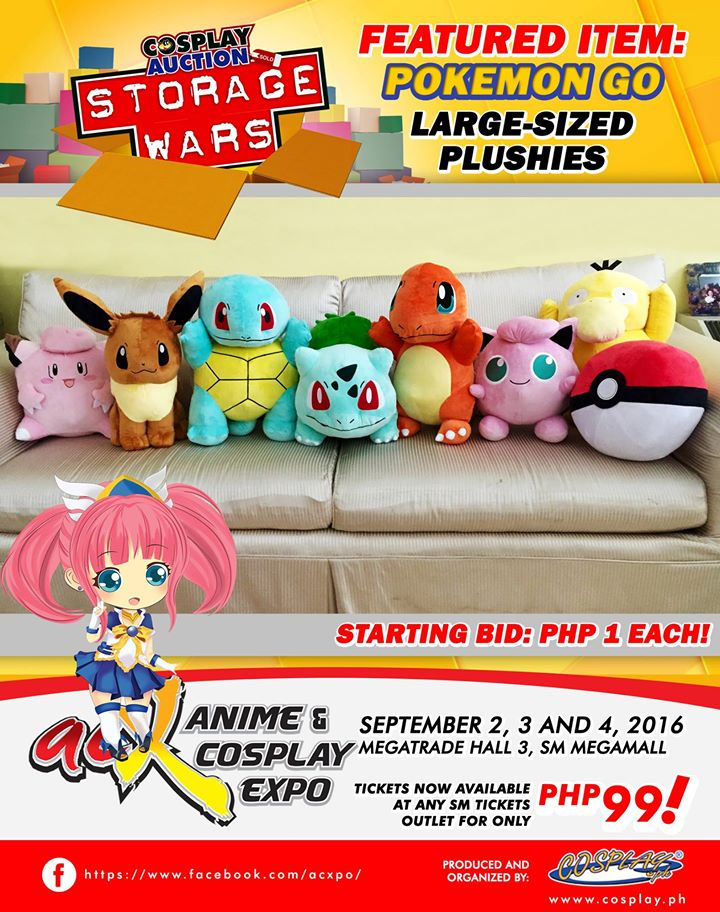 A wide variety of auction items like these Pokemon GO large-sized plushies will be on auction starting at only 1 peso!