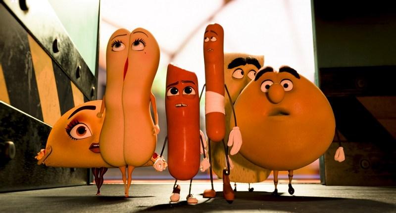 Teresa (Salma Hayek), Brenda (Kristen Wiig), Barry (Michael Cera), Frank (Seth Rogen), Lavash (David Krumholtz) and Sammy (Edward Norton) in Columbia Pictures' SAUSAGE PARTY.