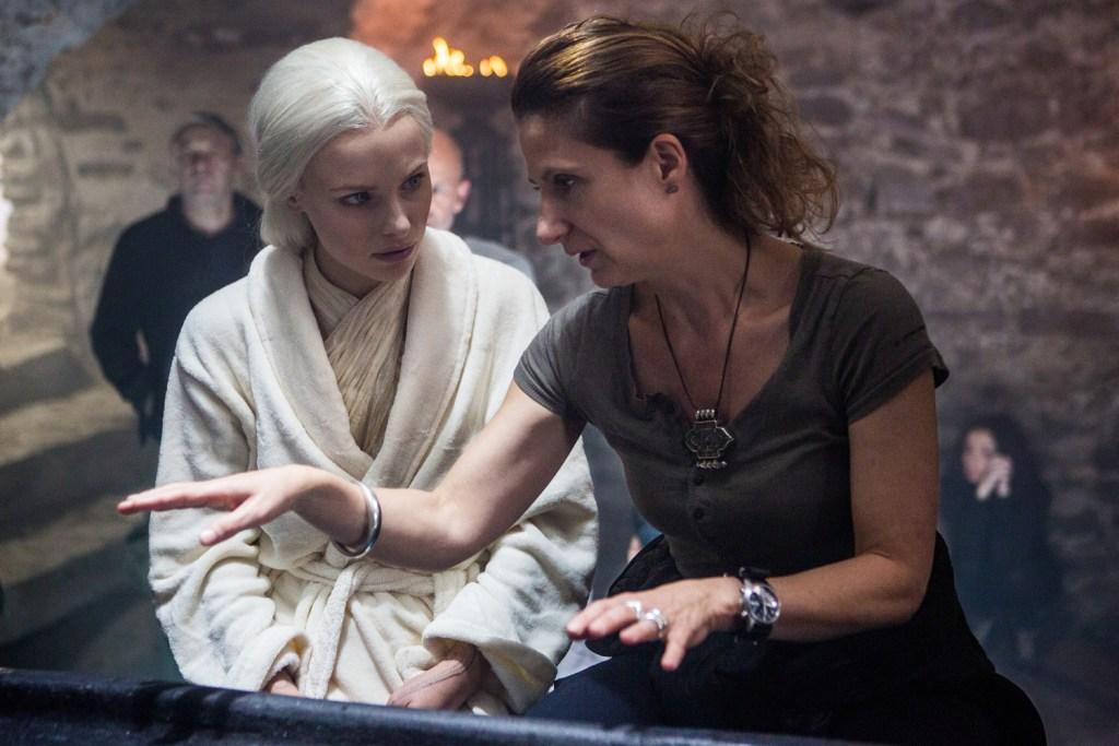 Clementine Nicholson and director Anna Foerster on the set of Screen Gems' UNDERWORLD: BLOOD WARS.