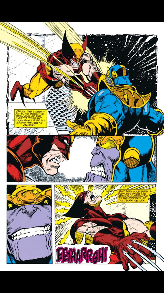 Wolverine stabs Thanos Infinity gauntlet