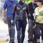 BTS of Evangeline Lilly in her Wasp Costume for Ant-Man and the Wasp