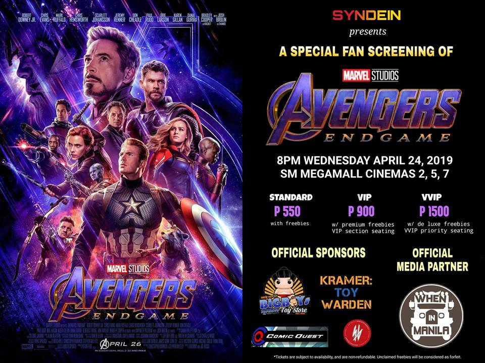 Avengers: Endgame Suggested Screenings you can catch for April 24