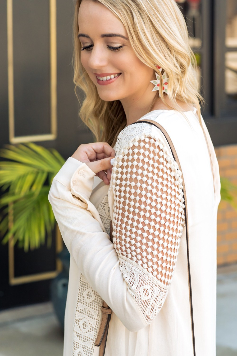 Embroidered Details Crochet Inset Cotton Shift Dress ASTR Fancy Things