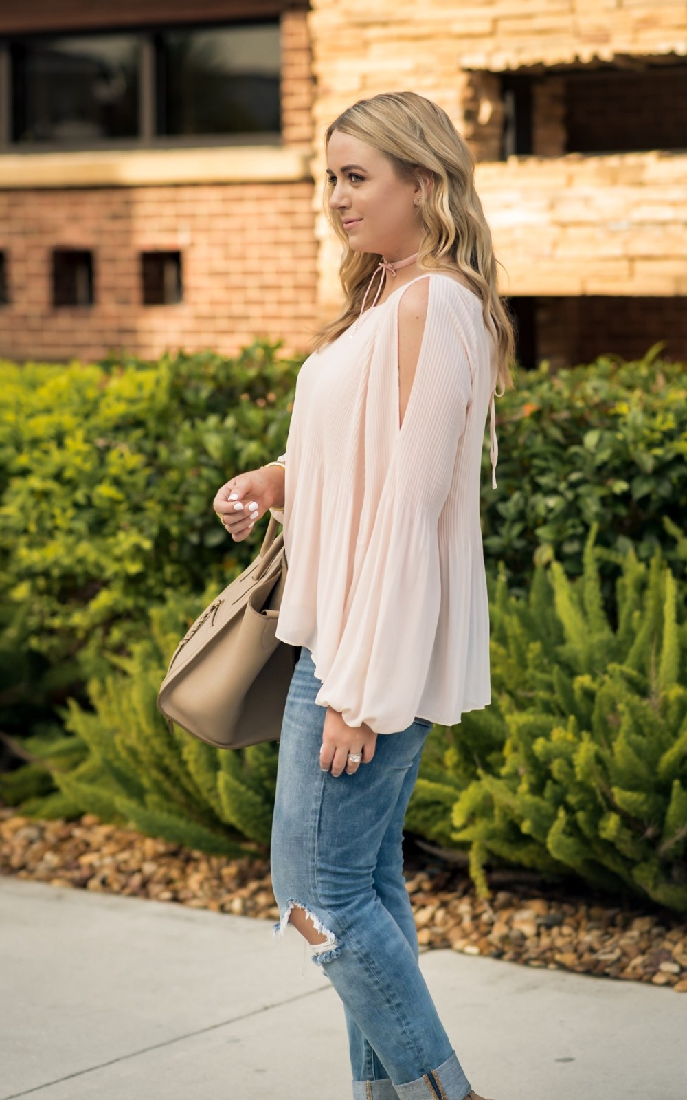 Pink Cold Shoulder Blouse Fancy Things