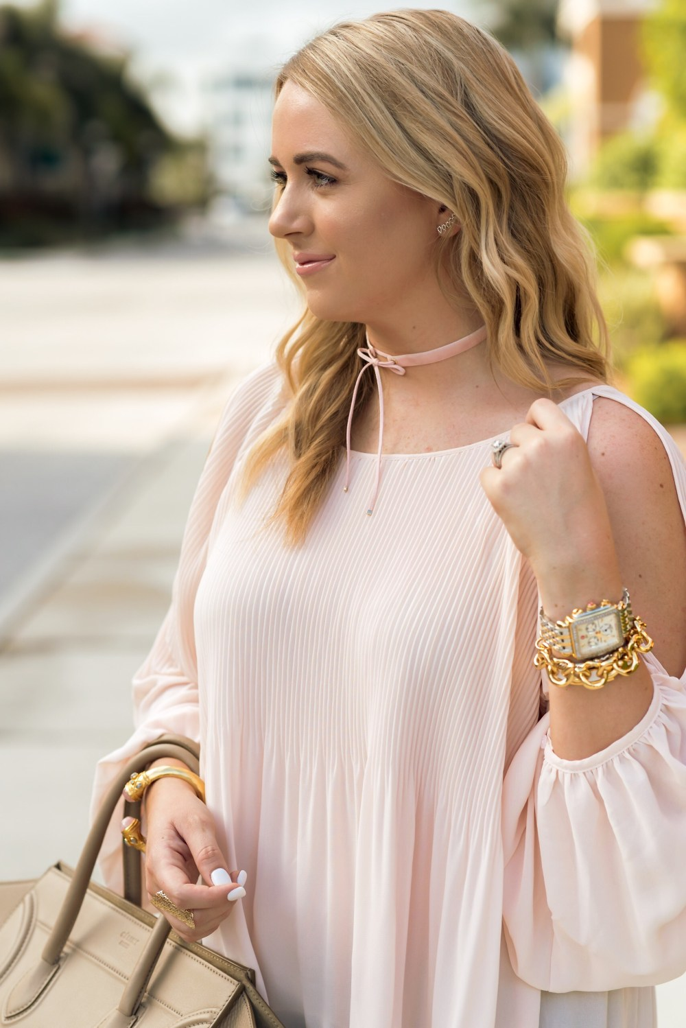 e823a9fa610ee8 Pink Cold Shoulder Top ASTR Fancy Things