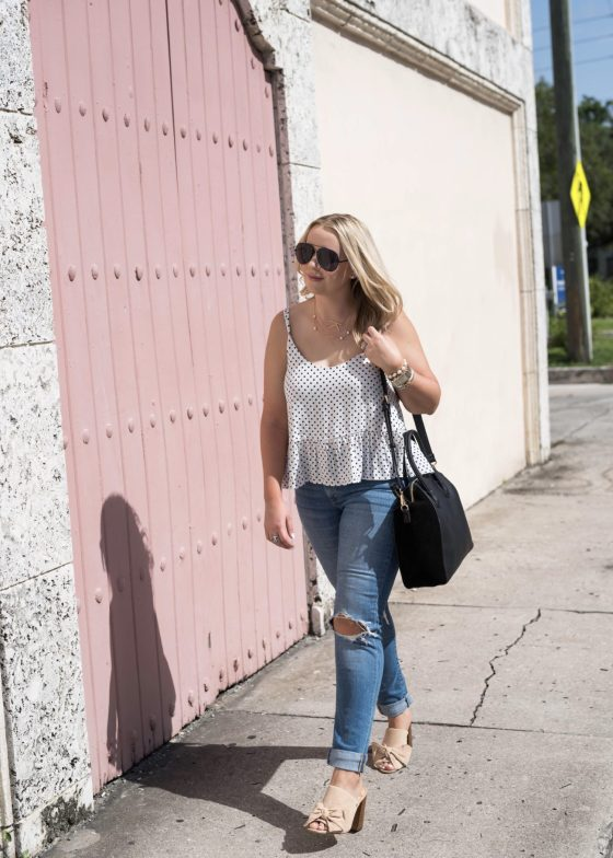 Polka Dot Cami Distressed Denim Fancy Things