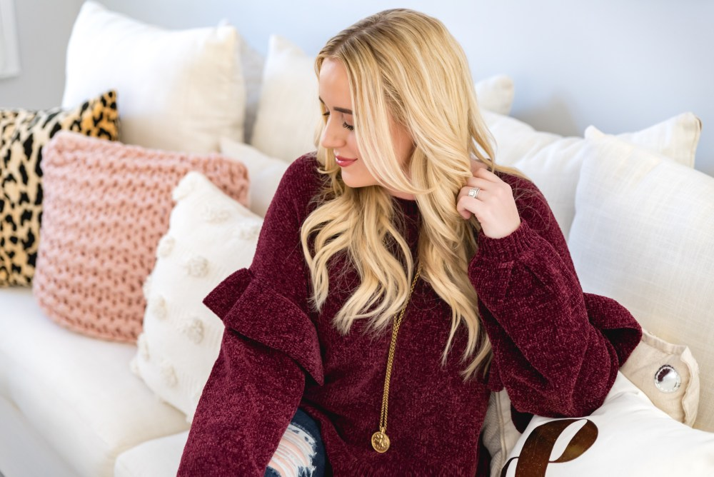 BP. Ruffle Chenille Sweater Fancy Things Nordstrom