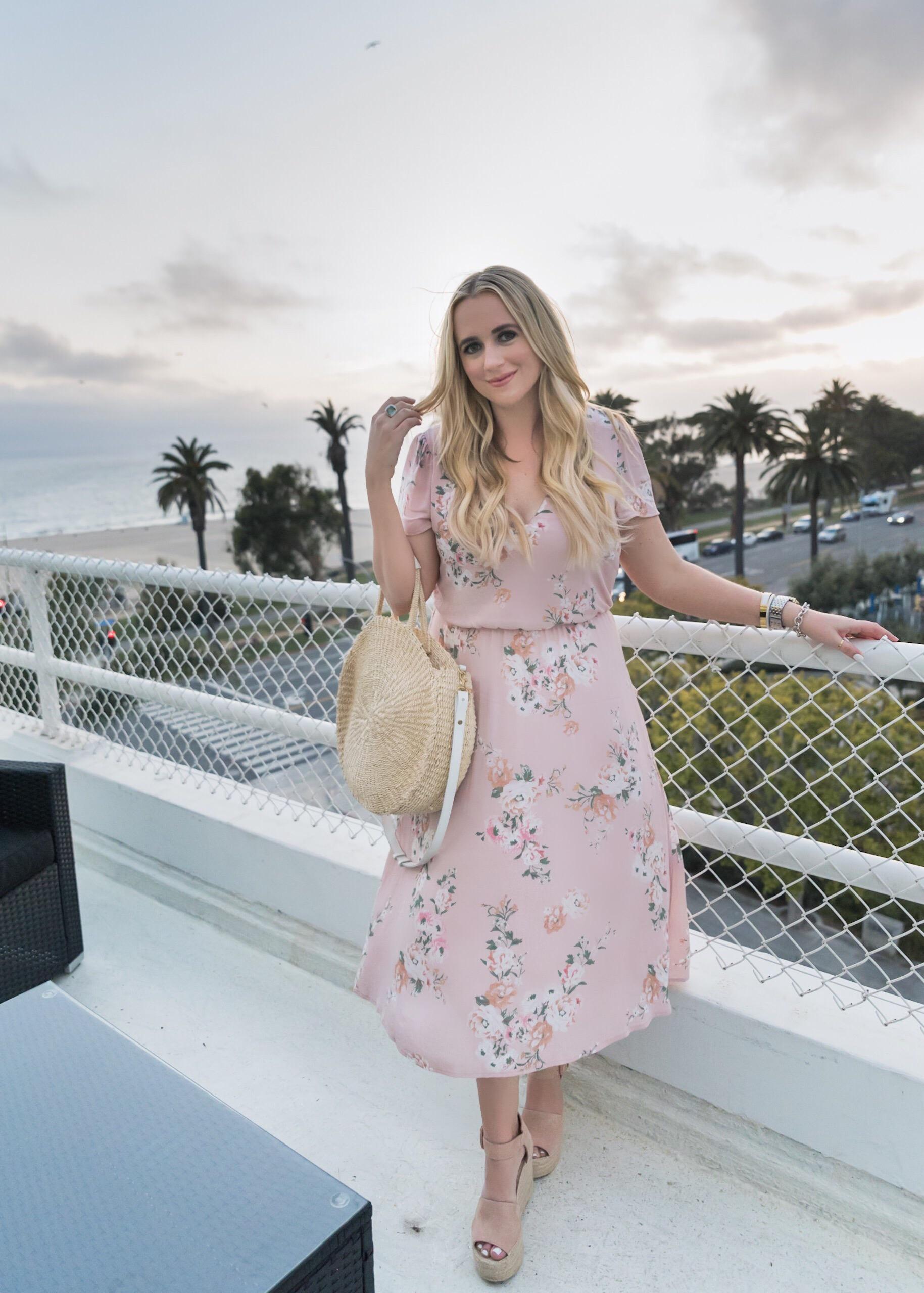 3b9bac201e0e Wayf Blouson Midi Dress Blush Pearl Floral Fancy Things - Fancy Things