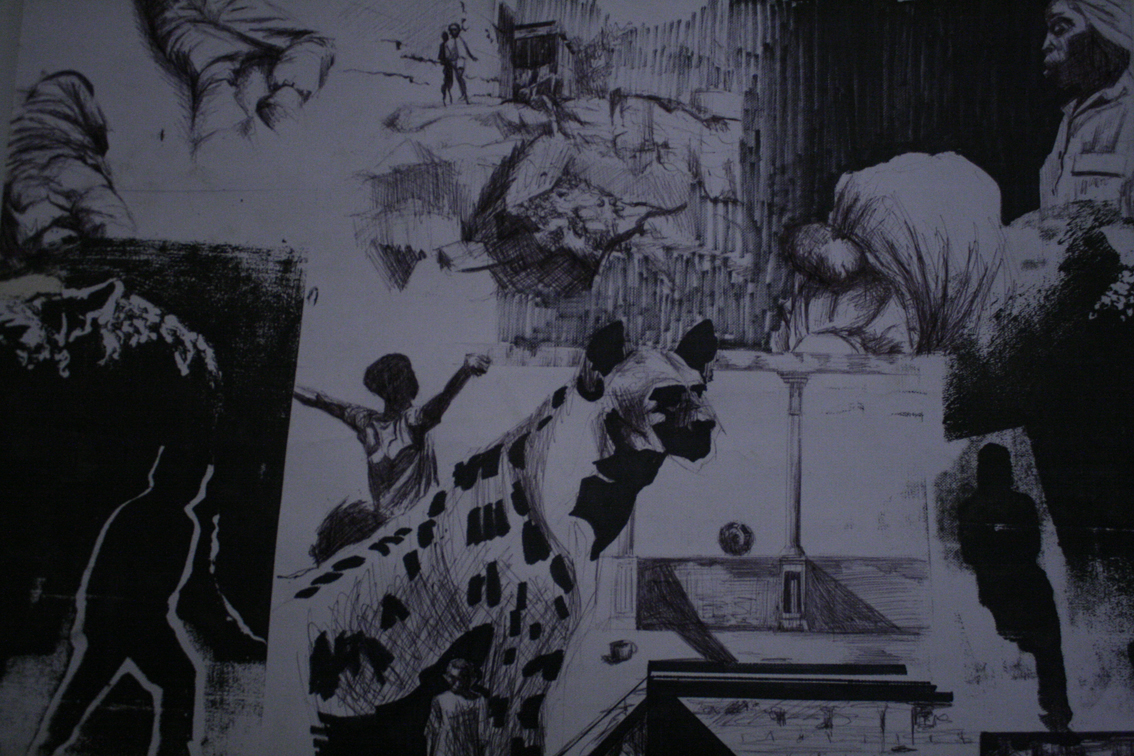 Nkosinathi Quwe, From the Little Boy's Room (detail), 2005, pen, ink and silscreen on wallpaper