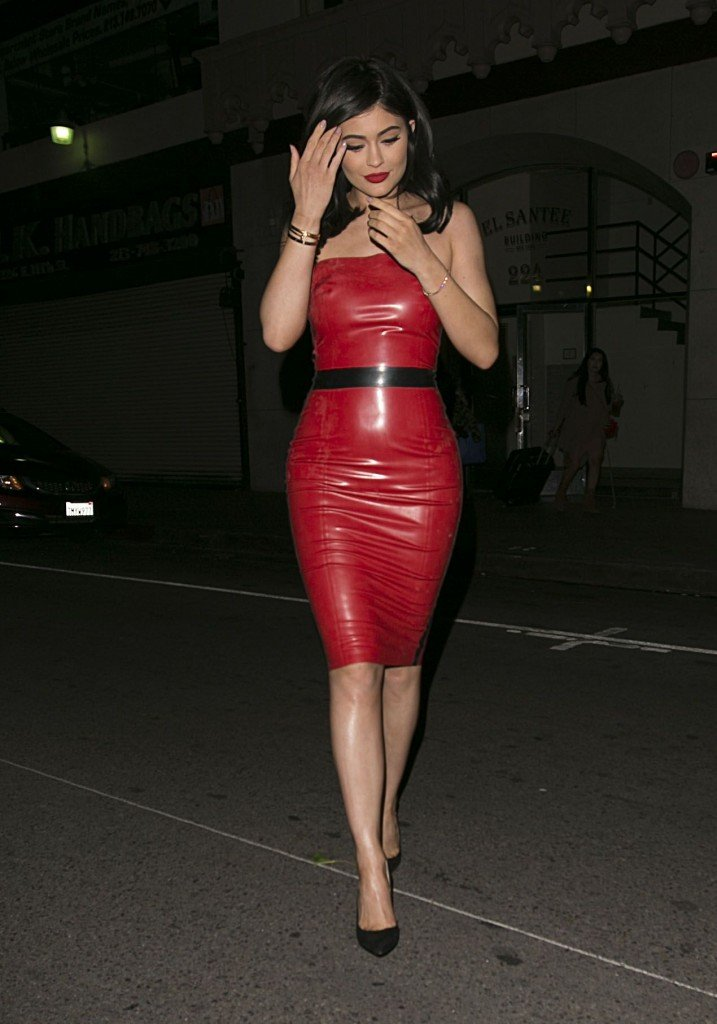 Kylie Jenner in a Red Latex Dress (42 Photos)