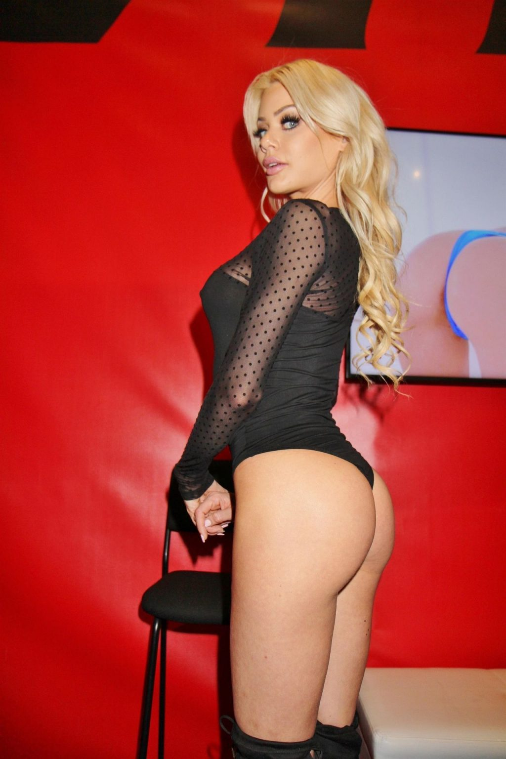 Riley Steele Poses in a See-Through Bodysuit at the 2020 Adult Entertainment Expo (2 Photos)