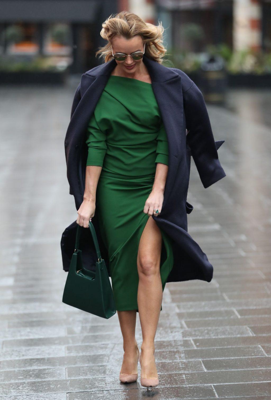 Amanda Holden Shows Her Pokies in a Green Split Dress (8 Photos)