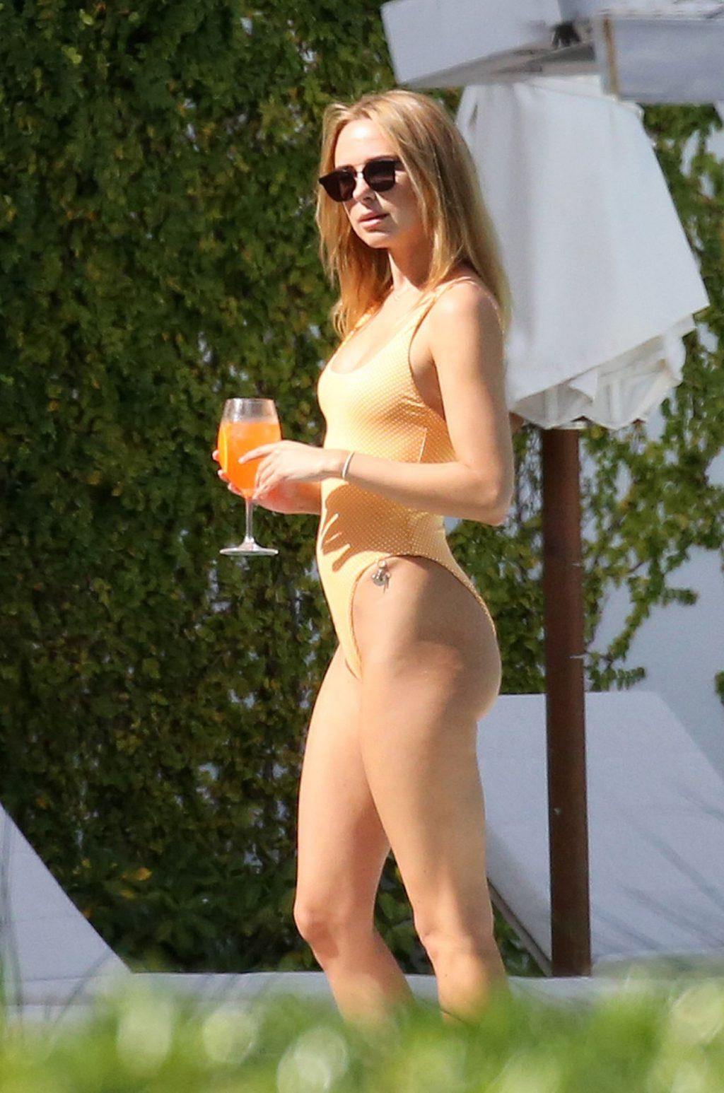 Kimberley Garner Seen Wearing an Orange Swimsuit in Miami (32 Photos)