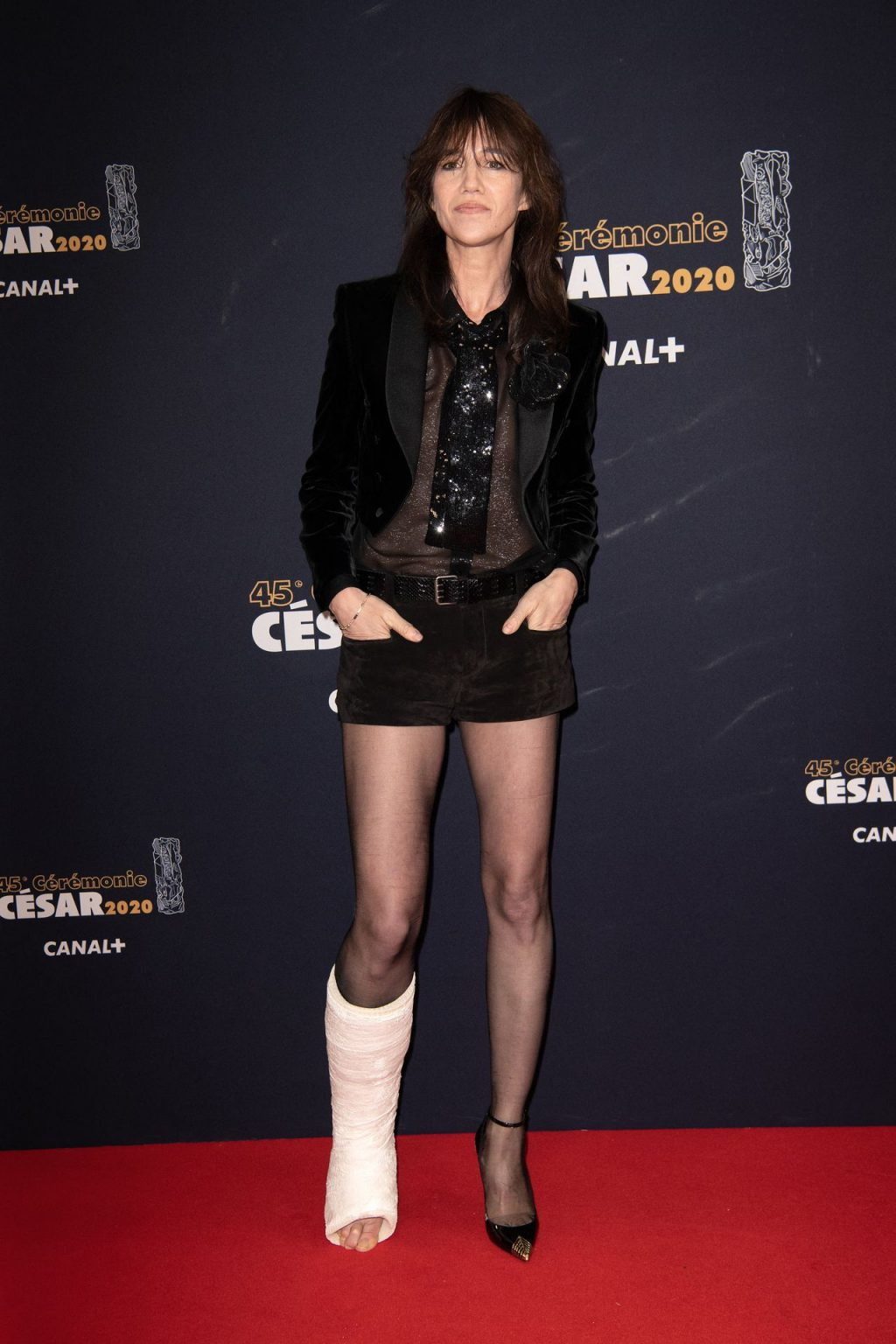 Charlotte Gainsbourg Shows Her Tits and Injured Leg at the 2020 Cesar Film Awards (74 Photos)