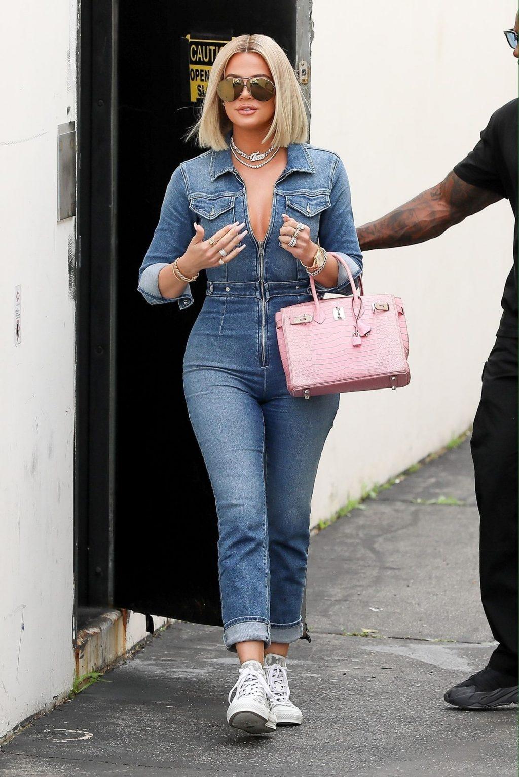 Denim Babe Khloe Kardashian Leaves the Studio in a Jean Jumpsuit (18 Photos)