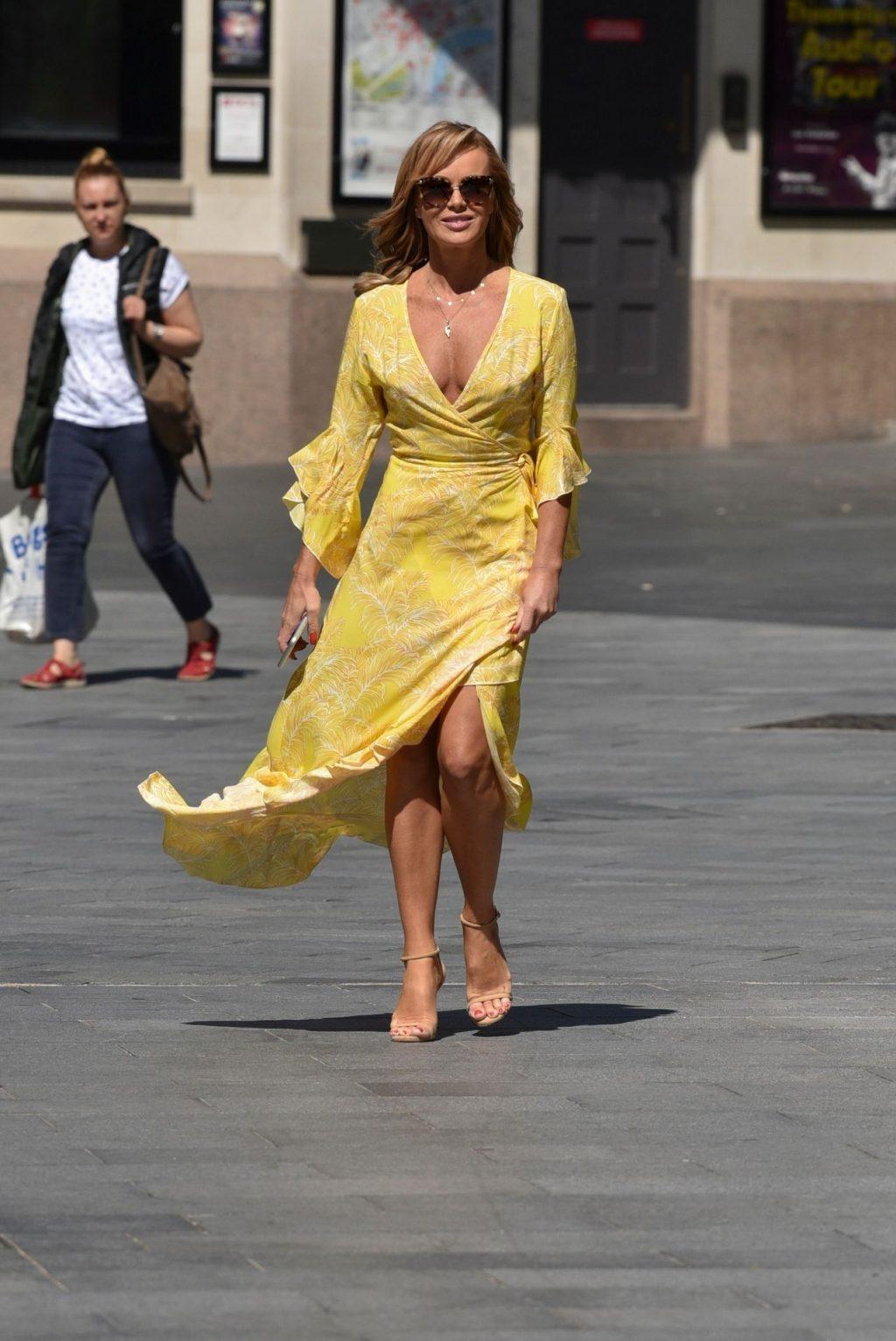 Amanda Holden Displays Her Pokies in a Yellow Dress (67 Photos)