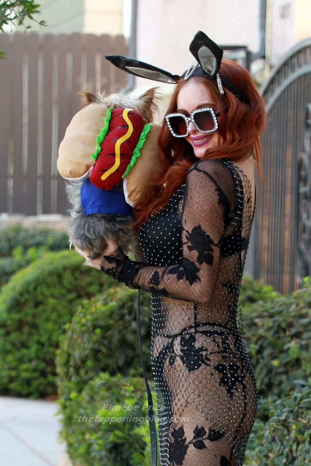 Phoebe Price Walks Her Dog in a Sexy Bunny Outfit ahead of Halloween (27 Photos)