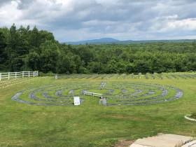 Lavender Labyrinth with views of Mount Wachusett