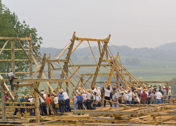 amish men working barn