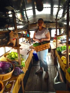 RVA Chef Brittany Anderson, from Metzger Bar and Butchery, picksed up ramps and other local goodies from the FarmBus this week. She plans to pickle them.