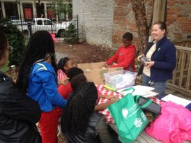 Mary Dudley of Civic Garden Center shows how to make seed mosaics