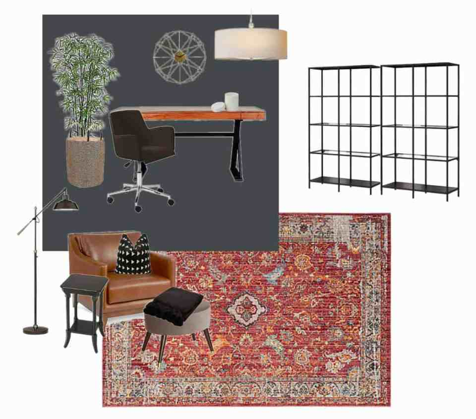Leather chair, rug and shelves in this office mood board.