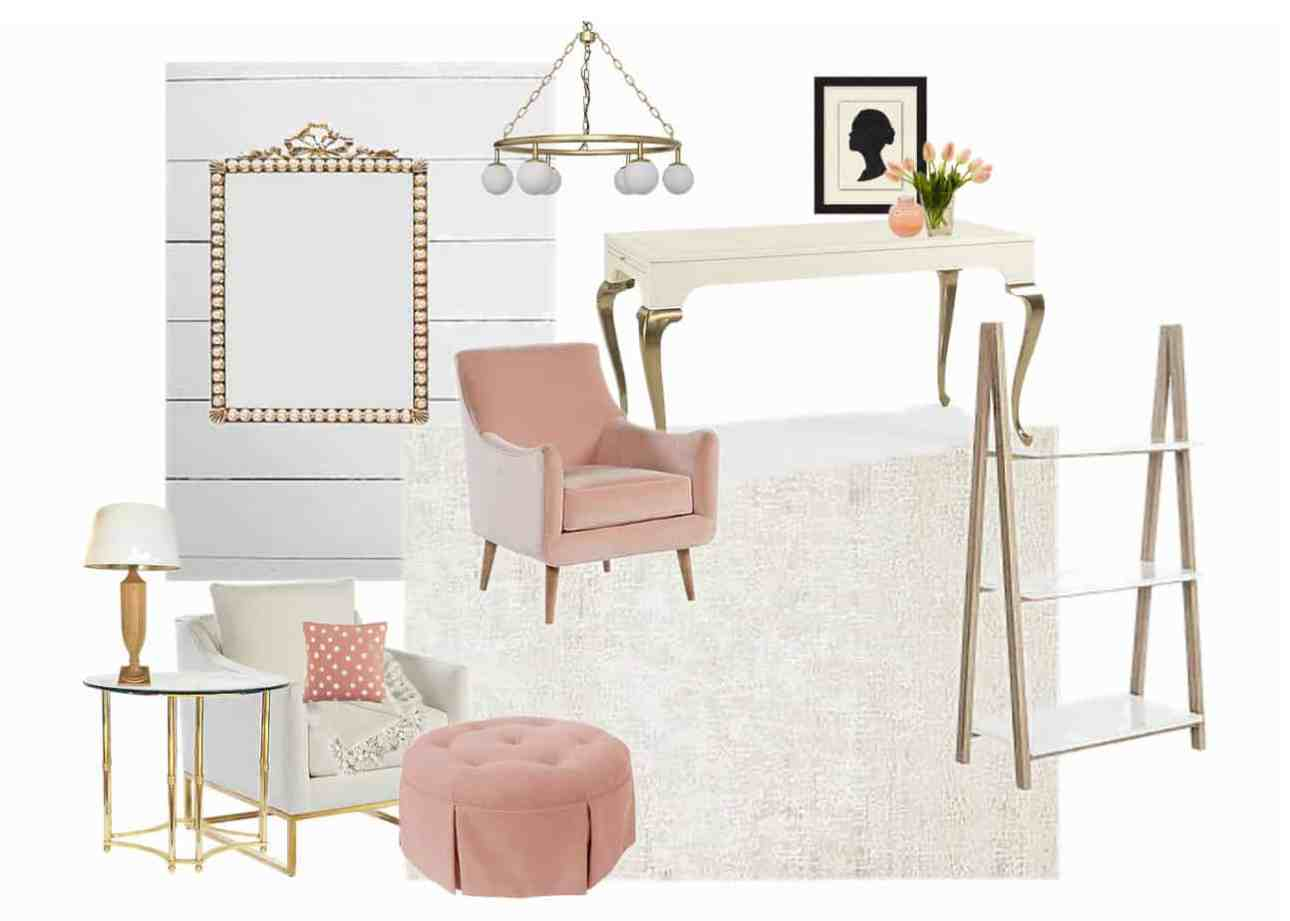 Pinks and gold with a white and gold desk and white and gold armchair.