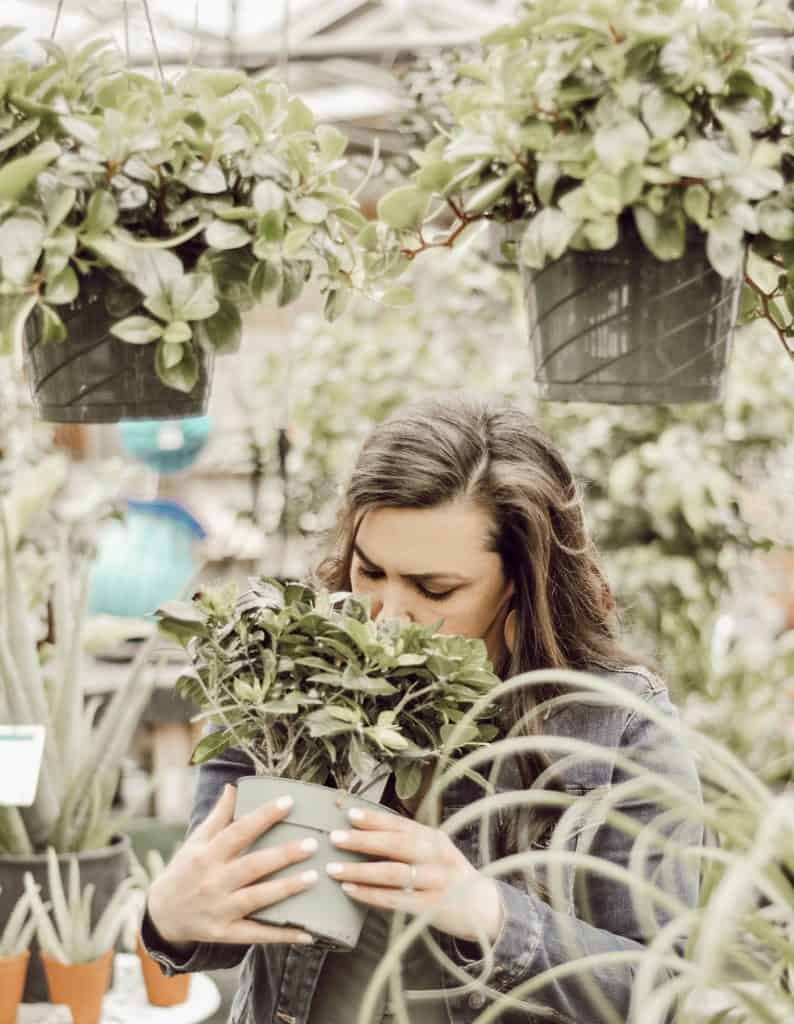 Woman smelling house plant.