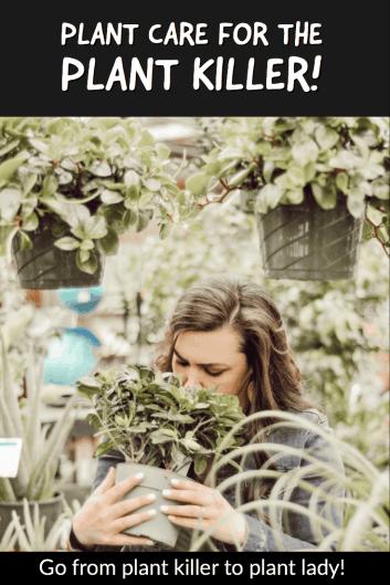 woman smelling plant