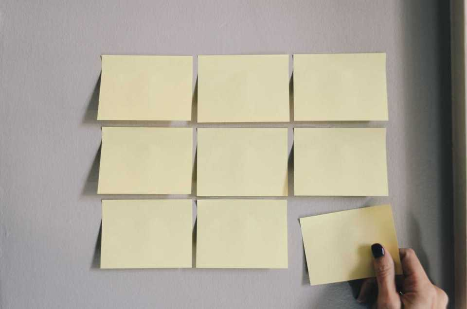 Yellow stickies on the wall that are blank.