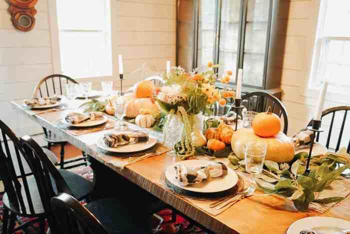 pumpkins on table