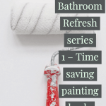 white paint on a paint roller bathroom refresh and pairing hack