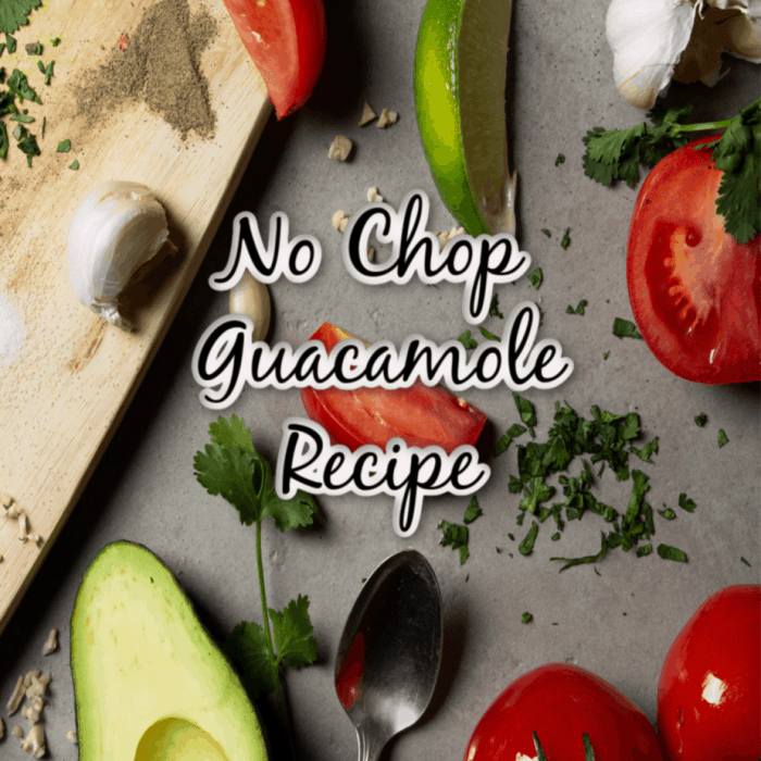 No chop guacamole recipe graphic.