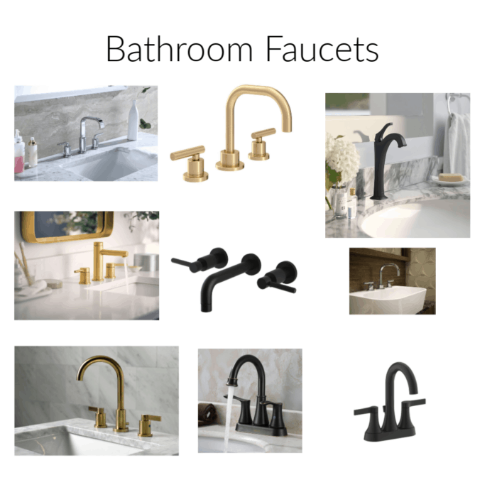 Bathroom faucets in a variety of sizes and finishes.
