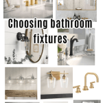 bathroom light fixtures, mirrors, and faucets