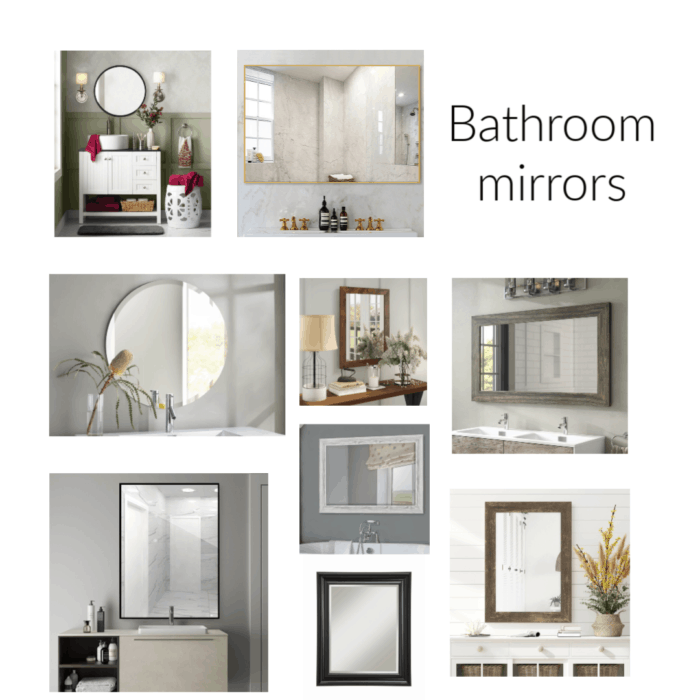 Bathroom mirrors that are round and square, large and small.