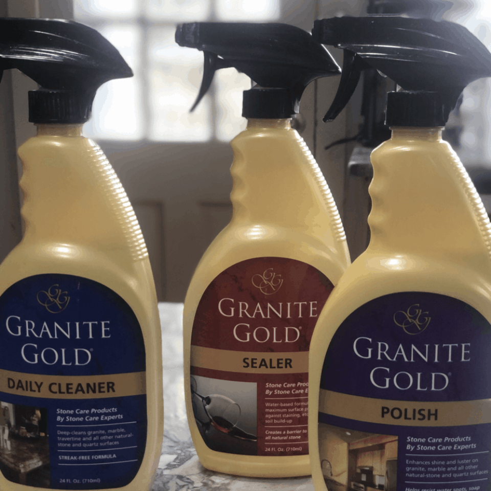 Granite Gold cleaner, sealer and polish bottles for stone countertops.